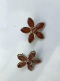 Pair of amber flower earrings