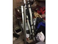 Thule aero wing roof bars, fitting kit, and Thule ProRide 591 bike holders x 4
