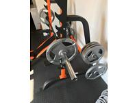 Weights, squat rack, bar and bench