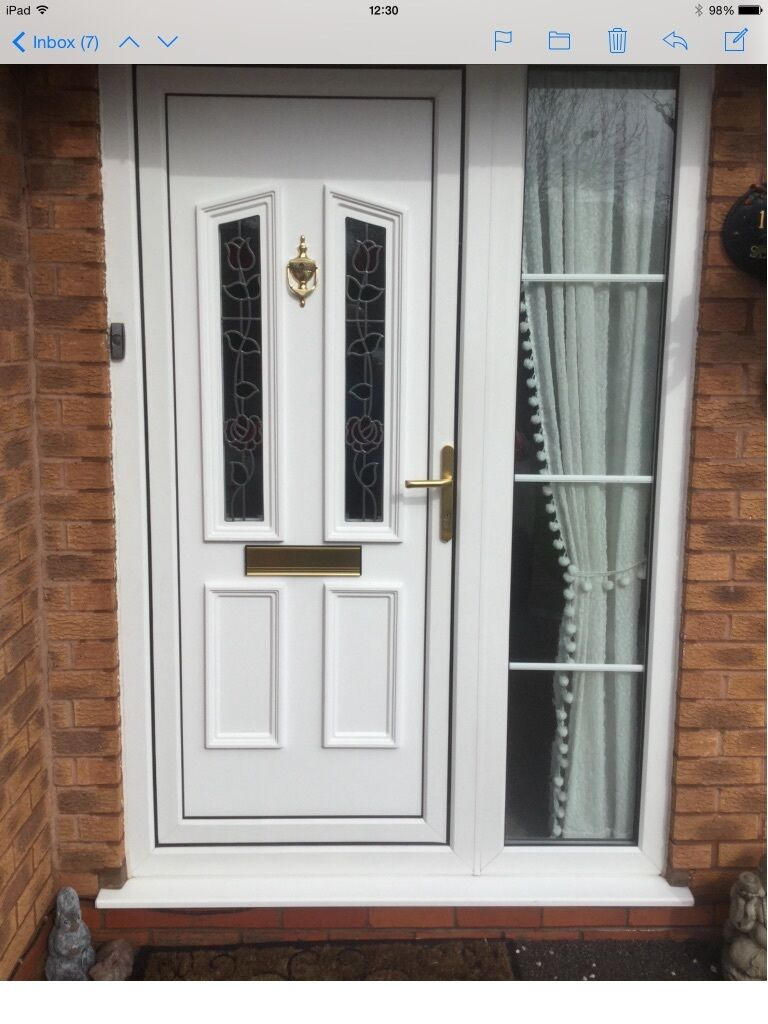 White upvc front door and glass side panel in solihull for Upvc glass front doors