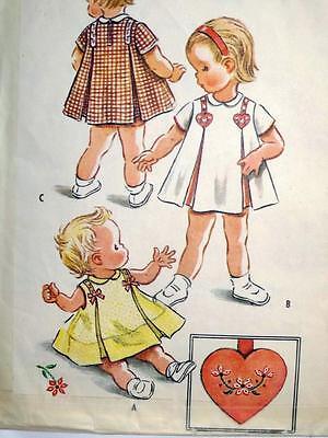 Vintage McCalls Inverted Pleat Dress Heart Transfer Pattern 2244 Sz 1 1950s