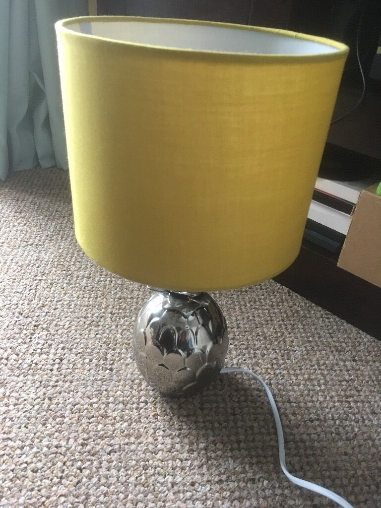 House Of Fraser Silver Pinele Table Lamp With Chartreuse Shade