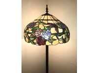 Tiffany Floor lamp with Dark Bronze Finish and Floral Details