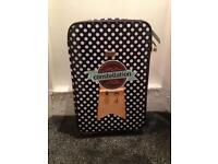 "Brand New Constellation Travel Suitcase Navy And White Oil Polka Dot 24"" Suitcase RRP £50"