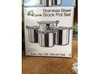 Set of 4 Stainless Steel Stock Pots