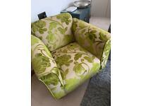 Arm chair, Green floral fabric