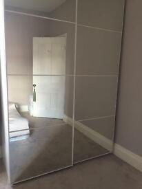 Ikea double wardrobe pax full mirrors white