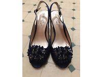 Navy Blue Embellished Slingback Court Shoes UK7