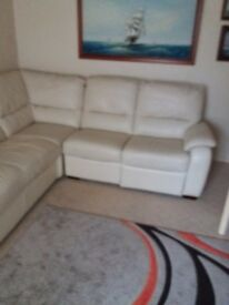 Real leather corner settee and electric reclining chair