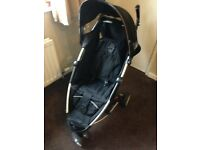 Black petit star Zia small folding pram stroller buggy perfect for holidays ROCHDALE unisex baby