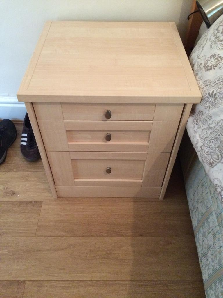 Birch Effect 3 Drawer Bedside Table With Silver Handles