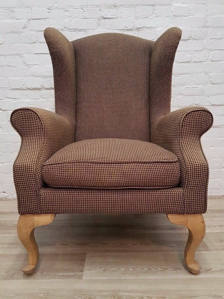 Tweed Wingback Armchair Delivery Available For