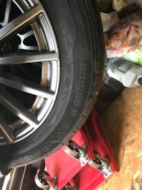 4 mercedes wheels and tyres c class 16 plate 205/55
