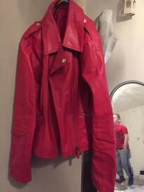 Brand new red pleather biker style jacket size medium