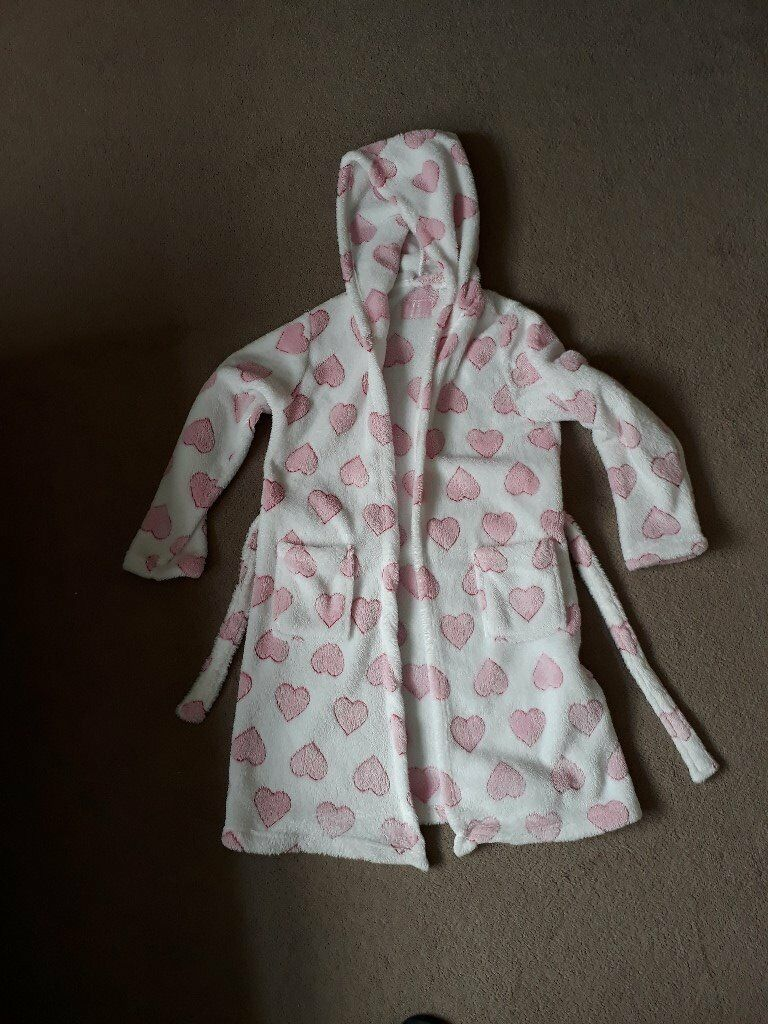 Primark YD Girls fleece dressing gown with pink hearts | in ...