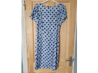 Women's Vintage-Style Blue Spotted Dress from People Tree - Size 12