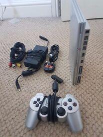 Playstation 2 Slim Silver 1 x Controller No Games