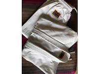 Martial Arts Suit (Aikido/Karate/Judo. Approx. Age 10+. Smoke Free Home. Trousers, Jacket & Belt.