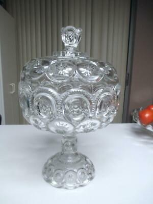 ADAMS CLEAR PRESSED GLASS PALACE MOON & STARS EXTRA LARGE COVERED COMPOTE