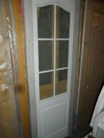 "White Glazed Internal Wood Grain 6 Pane Obscure Glass Door 27"" x 78"" x 35mm NEW"