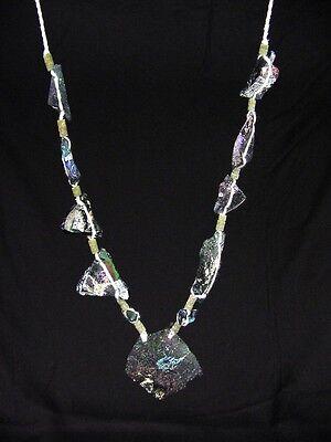 (BUTW Antique Iridescent 1st Century Roman Glass Bead Pendant Necklace 6847K)