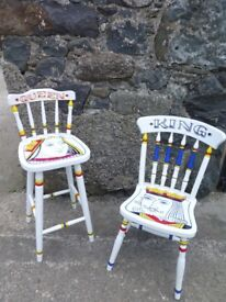 *** HAND PAINTED FURNITURE *** King & Queen Royal Seats ... Kitchen Chairs