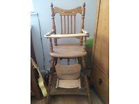 Vintage wooden highchair
