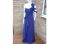 3 x Cadbury Purple Long flowing maxi bridesmaid dresses size 10 & 12