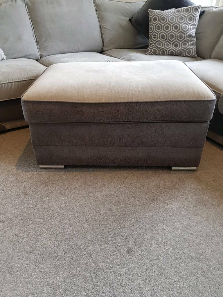 Prime Grey Two Tone Corner Sofa With Large Ottoman In Quedgeley Gloucestershire Gumtree Pabps2019 Chair Design Images Pabps2019Com