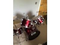 5 piece Practice kit with extra professional cymbal and grip stand plus practice pads & extra pedal