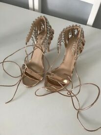 Rose gold heels with diamontes Size 4