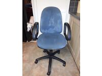 Office chair, blue fabric, pneumatic height adj, arms, castors, tilt lock mechanism