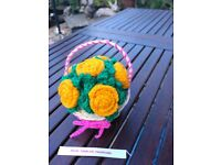 Crochet roses(6 roses) in wood basket.