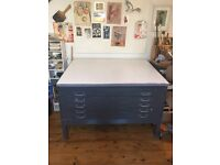 Vickers steel plan chest for sale with drawing table top