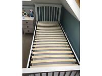 Single bed white wood frame