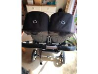 Excellent Bugaboo Donkey Twin Black Pushchairs Double Seat Stroller And new cot and accessories