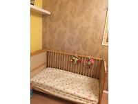 Baby Elegance Travis Cot Bed in Pine with Cot Top Changer from a pet free and smoke free home