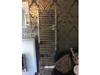 Bathroom sink with unit and mixer tap , and Crome towel radiator