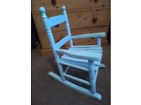 Kids Boys Blue Wooden Rocking Chair