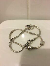 2 Pandora Silver Bracelet with genuine Lucky dice charm