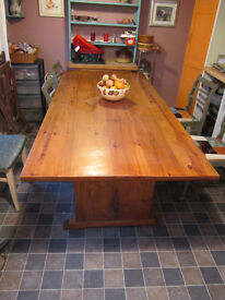 A large craftsman made solid wood table.