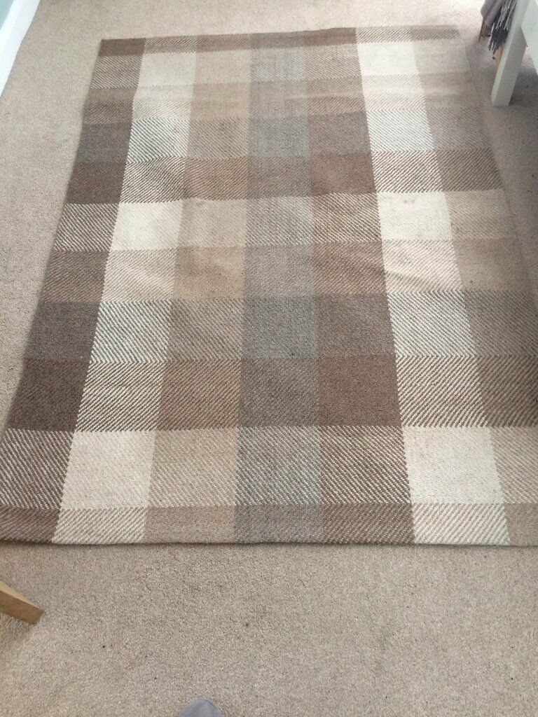 Next Cream Checked Wool Large Rug Can Deliver Locally In Bournemouth Dorset Gumtree
