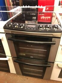 55CM STAINLESS STEEL BLACK ZANUSSI ELECTRIC COOKER