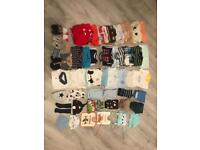 65 items- newborn, baby boy clothes, hats, shoes