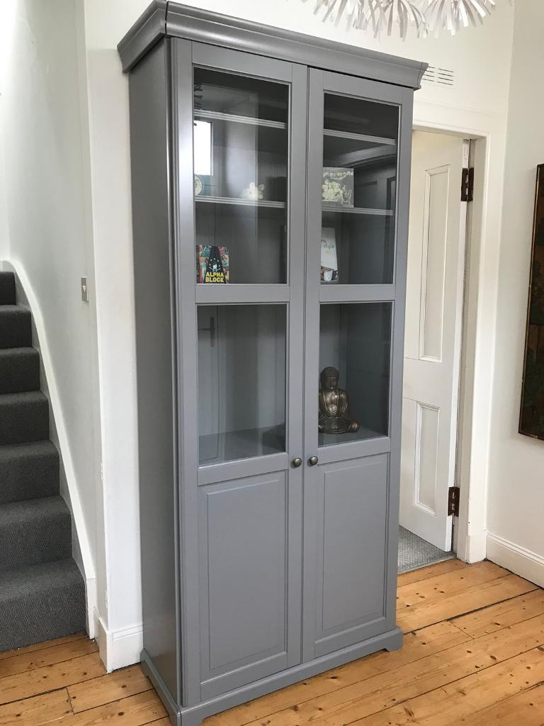 grey bookcase with glass doors ikea liatorp in cupar fife gumtree. Black Bedroom Furniture Sets. Home Design Ideas