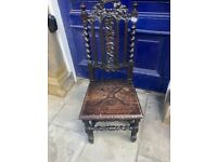 Hall Chair , lovely carved detail , barley twist feature. Sturdy chair