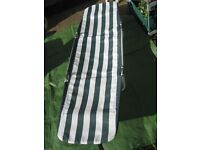 Green and White Striped Folding Garden Sun Bed