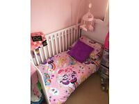White cot converts into toddler bed with mattress like brand new with changing mat topper