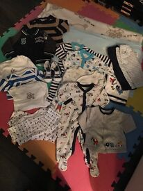 Baby boy clothes bundle 0-3 months (plus two blankets)