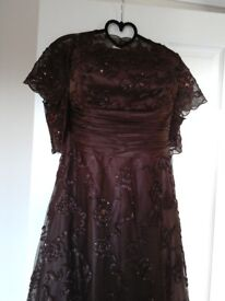 Monsoon Bethan Brown Dress with matching shrug/bolero Size 16